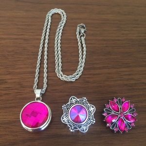 Jewelry - Handmade pink interchangeable snap necklace set